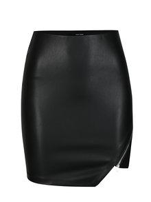 Černá koženková sukně s asymetrickým zipem TALLY WEiJL
