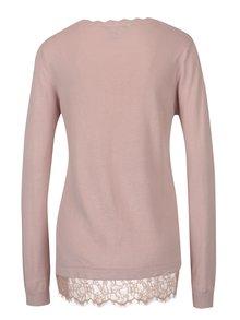 Světle růžový lehký svetr s krajkovým lemem Dorothy Perkins