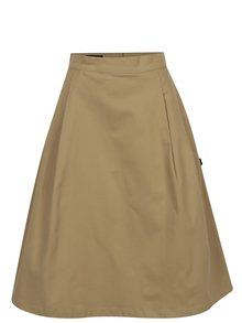 Béžová áčková sukňa s vysokým pásom Makia