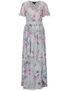 Svetlosivé kvetované maxišaty s volánmi Dorothy Perkins