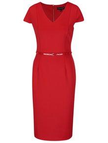 Červené puzdrové šaty s opaskom Dorothy Perkins