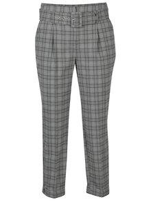 Pantaloni gri cropped in carouri cu talie inalta - Dorothy Perkins