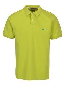 Limetkově zelené pánské regular fit polo tričko s logem s.Oliver