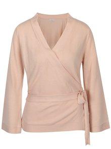 Světle růžový zavinovací svetr Jacqueline de Yong Bella