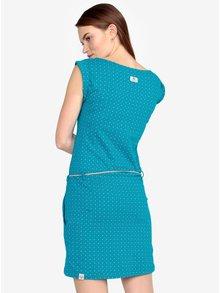 Tyrkysové bodkované šaty s opaskom Ragwear Tag Dots