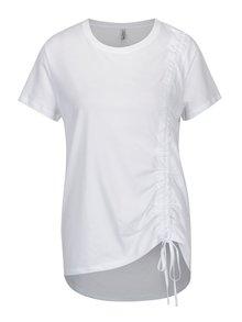 Tricou alb asimetric cu snur ajustabil - ONLY Merle
