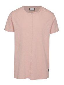 Tricou roz asimetric cu cusatura frontala  - Shine Original