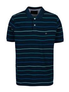 Tricou bleumarin cu dungi si logo brodat - Fynch-Hatton