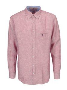 Ružová melírovaná ľanová casual fit košeľa Fynch-Hatton