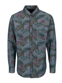 Camasa albastra cu print frunze - Fynch-Hatton
