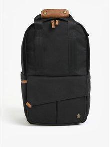 Čierny unisex vodovzdorný batoh s koženými detailmi PKG