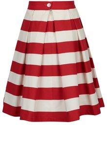 Červeno-krémová pruhovaná kolesová sukňa SAINT DOT Navy Red