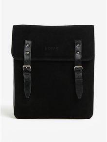 Černý semišový batoh s přezkami KOZAK