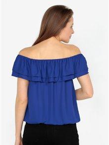 Bluza albastra cu decolteu amplu si volane - M&Co