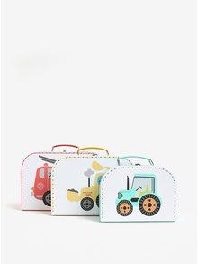 Sada tří dětských kufříků v bílé barvě s motivem aut Sass & Belle Trucks