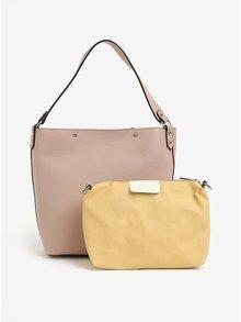 Set de geanta shopper roz prafuit din piele cu plic detasabil KARA