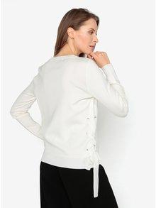 Krémový sveter s véčkovým výstrihom a šnurovaním VERO MODA Babetta