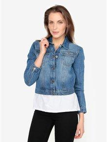 Modrá džínová bunda s vyšisovaným efektem Miss Selfridge