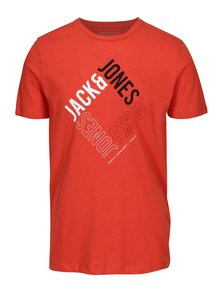 Tricou slim fit oranj cu print logo - Jack & Jones Booster