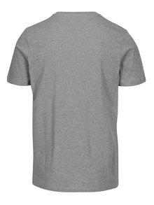Světle šedé žíhané slim fit tričko s potiskem Jack & Jones Booster