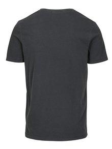 Tmavě šedé basic tričko s véčkovým výstřihem Jack & Jones Carter