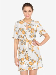 Krémové květované šaty s uzlem Miss Selfridge