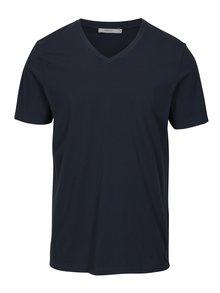 Tmavě modré basic tričko s véčkovým výstřihem Jack & Jones Carter