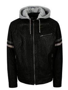 Černá pánská kožená bunda s kapucí KARA Eric B
