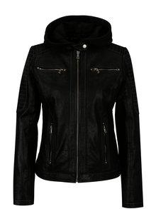 Jacheta neagra din piele naturala cu gluga detasabila KARA Maria