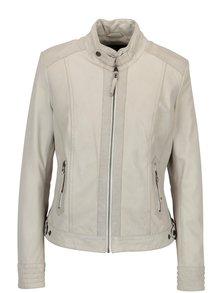 Krémová dámská kožená bunda s perforovanými detaily KARA Zafira
