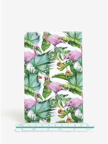 Carnet verde cu print floral si flamingo - Kaemingk A6