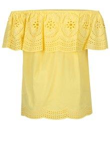 Žltá blúzka s čipkou a odhalenými ramenami Dorothy Perkins