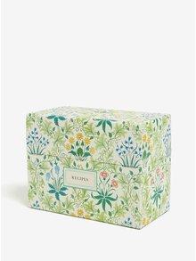 Zelený kvetovaný box na recepty Galison