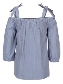 Modro-biela pruhovaná blúzka s odhalenými ramenami Dorothy Perkins