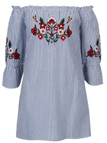 Modro-biela pruhovaná tunika s výšivkami kvetov Dorothy Perkins