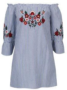 Modro-bílá pruhovaná tunika s výšivkami květů Dorothy Perkins
