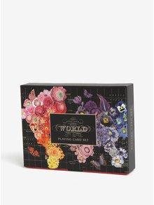 Set de doua pachete de carti de joc cu print floral si fluturi Galison