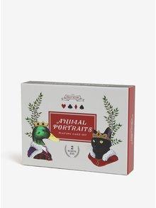 Svetlosivá darčeková súprava s hracími kartami s motívom zvierat Galison