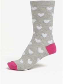 Světle šedé dámské žíhané ponožky s motivem srdcí ZOOT
