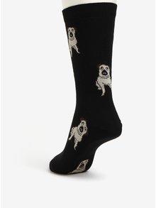 Černé dámské ponožky s motivem mopsů ZOOT