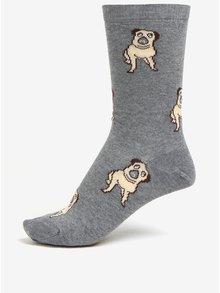 Šedé dámské ponožky s motivem mopsů ZOOT