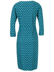 Tyrkysové vzorované zavinovacie šaty s 3/4 rukávom Tranquillo Viride