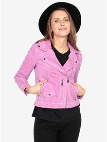 Jacheta biker roz din piele intoarsa cu fermoar asimetric -  VERO MODA Best Royce