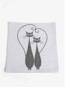 Sivo-krémová návliečka na vankúš s motívom dvoch mačiek Dakls