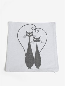 Šedo-krémový povlak na polštář s motivem dvou koček Dakls