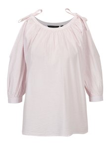 Bluza alba cu model in dungi roz si maneci balon - Dorothy Perkins