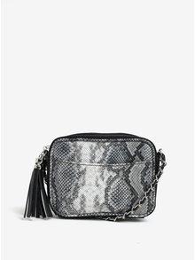 Sivo-čierna malá crossbody kabelka s hadím vzorom VERO MODA Snakee