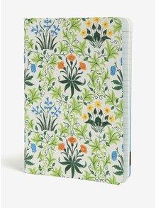 Carnet verde cu print floral si broderii - Galison