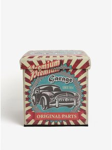 Taburet pentru depozitare cu print retro - Dakls