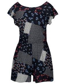 Tmavomodrý kvetovaný krátky overal s volánmi Dorothy Perkins